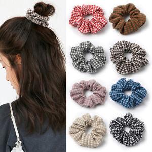 Vintage Hair Scrunchies Cotton Cloth Lattice Hair Rope Ponytail Hair Tie F016
