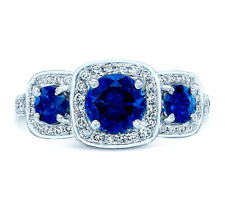 14k White Gold Round Blue Sapphire Diamond 3 Stone Engagement Ring Cushion Halo