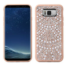 Samsung Galaxy S8+ Plus - HARD RUBBER CASE COVER ROSE GOLD DIAMOND BLING PEARLS