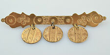 Antique Victorian Gold Filled Pin With 3 Round Dangles & Chased Design