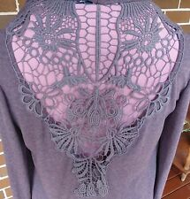 SPICY GIRL LADIES SIZE M MAUVE SOFT DRAPED EMBROIDERED CUTOUT ON BACK CARDIGAN
