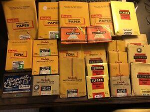 Job Lot Vintage Photographic Paper & Toner Kodak Ilford Dark Room Accessories