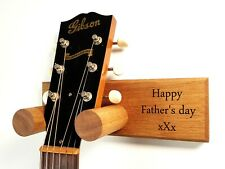 More details for solid oak guitar hanger, personalised. engrave your own message! free p&p!