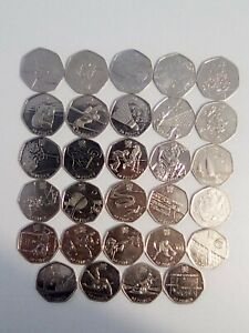 London 2012 Olympic Games 50p Coins Complete Set x29 Coins Circulated Shiny