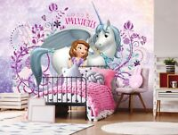 144x100inch Wall mural photo wallpaper Disney princess Sofia Purple White + glue