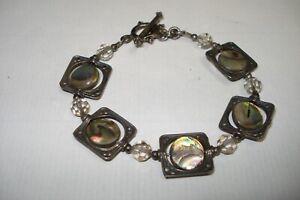 """Vintage Handmade Sterling Silver & Spinning Abalone Disk 7"""" Inch Bracelet .925"""
