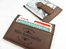 9 Personalized Engraved Leather Money Clips Groomsmen Best Man Usher Gift Brown