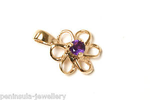 9ct Gold Amethyst Pendant Daisy necklace no chain Gift Boxed Made in UK