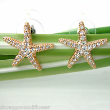 Navachi Starfish Sea Star 18K GP Clear Crystal Ear Stud Earrings BH1899