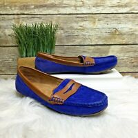 G. H. Bass & Co Becca Blue Suede Leather Front Moc Toe Sz 9 M Loafer Flats