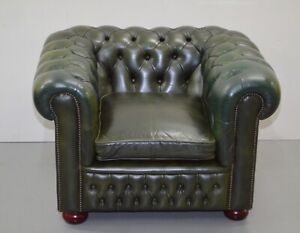 GREEN OLIVE LEATHER CHESTERFIELD LIBRARY CLUB ARMCHAIR /SOFA AVAILABLE