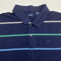 Izod Polo Shirt Men's Size 2XL XXL Short Sleeve Navy Striped Casual 100% Cotton