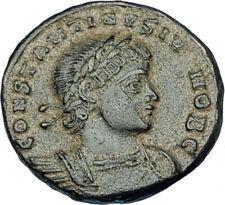CONSTANTINE II Jr Genuine 330AD Authentic Ancient Roman Coin SOLDIERS i65851
