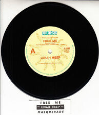 "URIAH HEEP  Free Me  7"" 45 rpm vinyl record + juke box title strip"