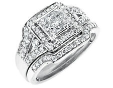 14K White Gold Invisible Princess Diamond Stackable Bridal Wedding Ring 1.25ct.