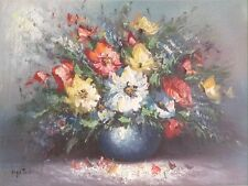 Original Botanical Art Oil On Canvas Painting Still Life Of Flowers By Hylton