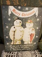 PRIMITIVE VINTAGE ART VICTORIAN STYLE CHRISTMAS SNOWMAN AND LADY CANVAS SIGN
