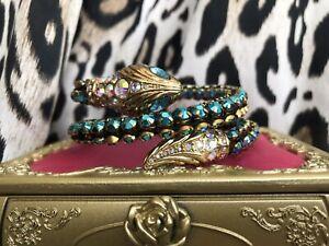 Betsey Johnson Ocean Drive Metallic Turquoise Snake Coil Wrap Bangle Bracelet