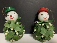 VTG NAPCO Plastsic Snowmen Mistletoe Christmas Ball Ornament~Lot of 2
