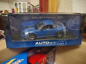 Autoart 2003 Ford Mustang Mach 1 Azure Blue 1:18 Diecast - SUPER RARE