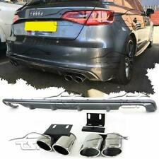 DIFFUSER + EXHAUST MUFFLER PIPE TIPS FOR AUDI A3 8V SPORTBACK 13-16 S3 LOOK