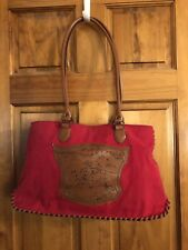 Disney Tigger Piglet and Winnie the Pooh Red Canvas Brown Faux Leather Handbag