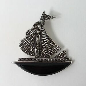 Brooch Antique Art Deco Boat With Voiles Onyx Silver Marcasite Punches 1920s