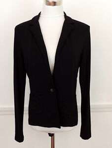 Cabi S Black Jacket Stretch Knit Comfort Pockets One Button Front Career Casual