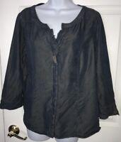 J. Jill Denim Tunic Shirt Blue Tencel Button Down V-Neck Soft Blouse Sz MEDIUM