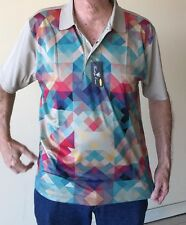 NEW XL Mens Heritage Cross Mosaic Euro Tech Golf Polo Shirt Poly NWT Tags Silky