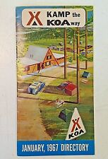 Vintage January 1967 Kamp the KOA Way Campground Directory and Travel Guide List