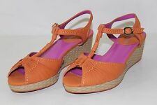 FREE SHIPPING Gretta Gateway Womens Sz 7 M Orange Strappy Heels Wedges Shoes NEW
