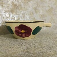 Vintage Watts Pottery, Individual casserole dish, Pansy design  [A-8]