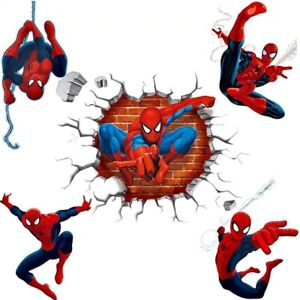 wall stickers spiderman decal Art Mural 3d effect hero for kids rooms pvc