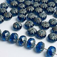 6pcs Blue Cathedral Rondelle Faceted Czech Glass Beads, 7x10mm - GB459