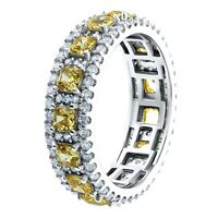 Women's Canary Yellow CZ Asscher Cut Eternity Band Ring Sterling Silver .925