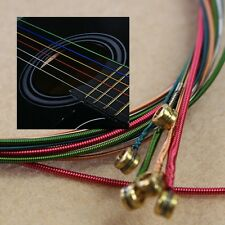 New A Set 6pcs Rainbow Colorful Color Strings For Acoustic Guitar Hot Fashion