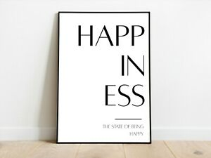 Happiness Positive Affirmation Home Decor Wall Print A3/A4/A5 Posters Gift Idea