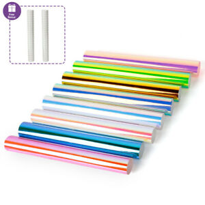 8 Pack Holographic Adhesive Vinyl & 2 Transfer Paper for DIY Cup Craft Cutting