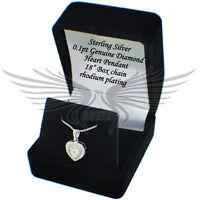 0.1 pt Genuine Diamond Illusion Setting 925 Sterling Silver Heart Square Pendant