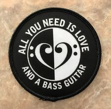 "All you need is Love and a Bass Guitar - Ying Yang Bass Clef Embroidered 3""Patch"