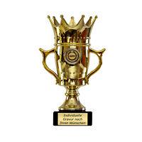 Pokal Krone Geschenk für Muttertag Vatertag Geburtstag mit Gravur 22,5 cm hoch