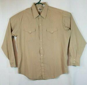 Ely Cattleman Men's Tall 17-1/2 x 36 Pearl Snap Long Sleeve Brown Western Shirt
