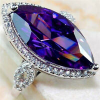 925 Silver Marquise Cut Amethyst Wedding Ring Luxury Engagement Party Jewelry