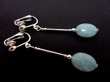 A PAIR OF DANGLY BLUE JADE  OVAL  CLIP ON EARRINGS. NEW.