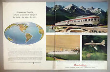 Canadian Pacific 2-Page PRINT AD - 1958 ~~ railroad, train, ship, airplane