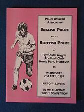 English police V Scottish Police-Programme 2/4/97 - joué à Plymouth Argyle