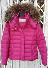GORGEOUS JACK WILLS PUFFA DOWN HOODED JACKET COAT PINK SIZE 8 FUR HOOD RARE