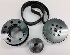 SBC Small Block Chevy Gilmer Belt Drive Pulley Set Black LWP 283-400 BONUS Belt