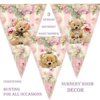 BUNTING TEDDY BEARS PICNIC BIRTHDAY BABY SHOWER CHRISTENING NURSERY DECOR PINK